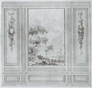 Wandontwerp met één behangselvlak geflankeerd door twee zijvlakken