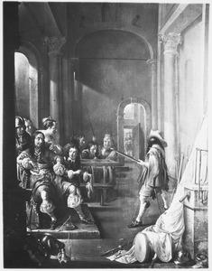 Wachtlokaal met rokende en triktrakspelende soldaten en jonge vrouwen