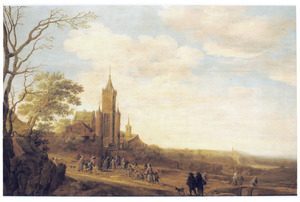 Landschap met wandelaars op weg naar een klooster voor een voedseluitdeling