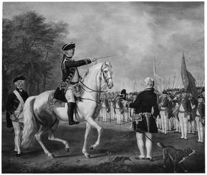 Exercitie van het regiment Hollandsche Gardes bij de Koekamp in Den Haag onder bevel van Jacob van Kretschmar (1721-1792)
