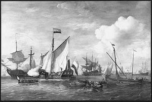 Ontvangst aan boord van het Admiraliteitsjacht van Amsterdam