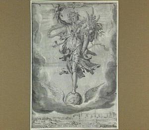 Praemium: Ceres met hoorn des overvloeds staande op gevleugelde wereldbol