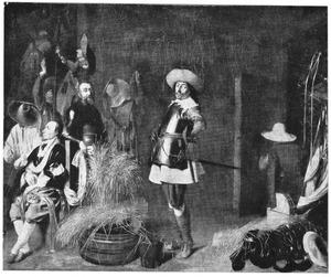 Soldaten en officieren in een wachtlokaal