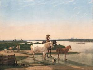 Landschap langs de rivier de Isar bij München met fluitspelende jongen te paard