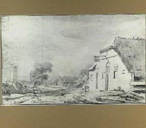 Landschap met herberg en toren (Muiderberg?)