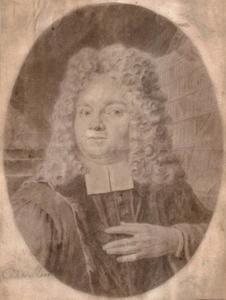 Portret van een man in zijn bibliotheek