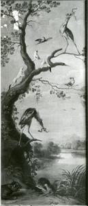 Watervogels, visotters, hermelijnen en andere dieren in een landschap