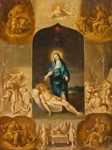 De Pietà omringd door scènes uit het Oude Testament, in de vier hoeken de Evangelisten