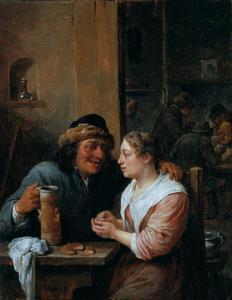 Man met bierpul en jonge vrouw in een herberg