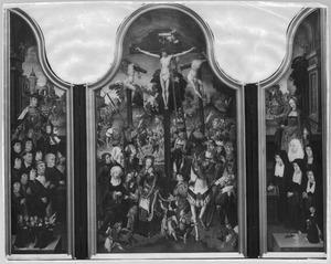 Drieluik met de stichter, zijn zonen en kleinzonen en de H. Joris (links), de kruisiging (midden), de stichtster, haar dochters en kleindochter en de H. Maria Magdalena (rechts)