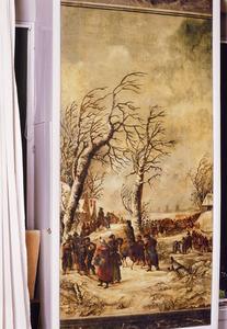 De Franse troepen in de barre winter van 1794-1795 trekkend over de bevroren rivieren