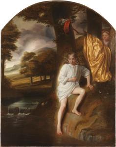 Jongen maakt zich op om te gaan baden in een beekje terwijl een meisje toekijkt vanachter een boom