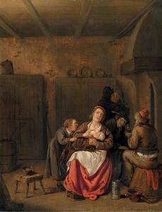 Interieur met een moeder met kind en andere figuren