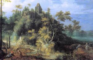 Berglandschap met landbouwactiviteiten rond een burcht