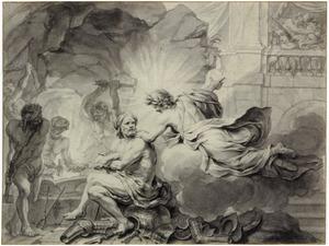 Apollo in de smidse van Vulcanus, de minnekozende Venus en Mars verradend (Metamorfosen 4:171-176)