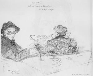De kunstenaar en zijn vrouw wachtend op een trein in Amsterdam