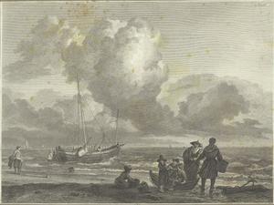 Strandlandschap met vissers