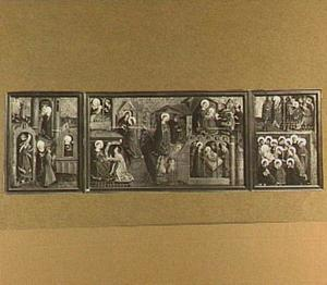 Drieluik met episoden uit het leven van Maria (op de buitenzijde: episoden uit het lijden van Christus)