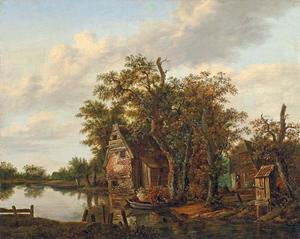 Bebost landschap met huizen aan een rivier