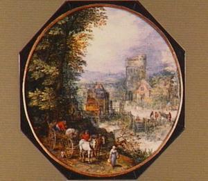 Landschap met paard en wagen op een weg langs een bos, op de achtergrond een kasteel