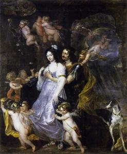 Dubbelportret van een man en een vrouw, mogelijk Friedrich Wilhelm von Brandenburg (1620-1688) en Louise Henriette van Oranje-Nassau (1627-1667) als Dido en Aeneas
