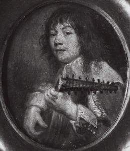 Portret van een luitspelende man