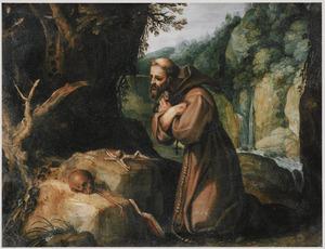De H. Franciscus van Assisi mediterend in de wildernis na de stigmatisatie