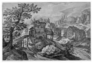 Rotslandschap met rivier en bebouwing