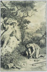 Mozes trekt zijn sandalen uit voor het brandende braambos (Exodus 3:5)