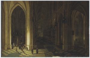 Interieur van een gothische kerk tijdens een mis, bij kaarslicht