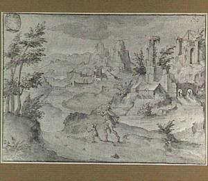 Rotslandschap met ruïnes en figuren