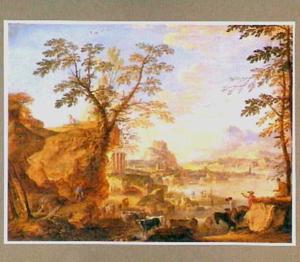 Italiaans rivierlandschap met herders en vee