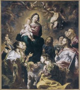 Maria als koningin der hemelen aanbeden door vrouwelijke heiligen