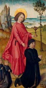 Portret van een schenker, zijn twee zoons en Johannes de Evangelist