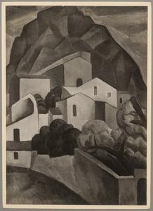 Berglandschap met huizen, Taormina