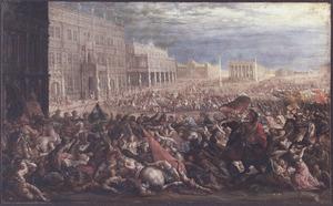 De inneming en plundering van een stad door Romeinse soldaten