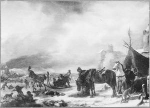 Winterlandschap met paarden bij een tent en een arreslee