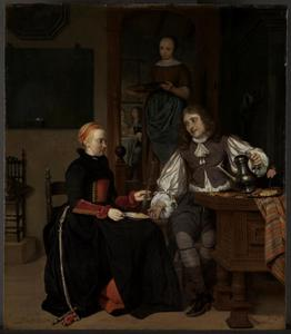 Vrouw met een wijnglas en een man met een schenkkan