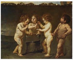 Putti in een smidse