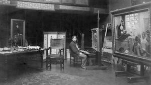 Gari Melchers in zijn atelier in Parijs