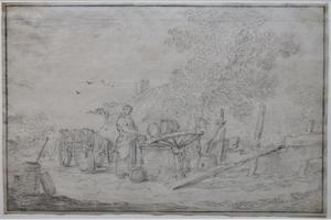 Boerin bij een put
