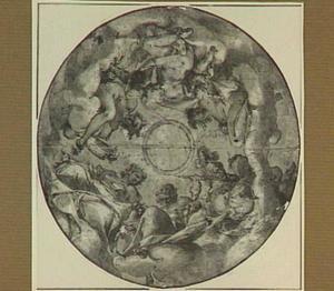 Jupiter, Juno, Mars, Venus, Mercurius en Diana, op wolken gezeten