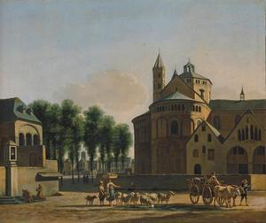 Stadsgezicht van Keulen met de Apostelkerk