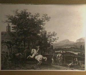 Heuvelachtig landschap met ruiters en andere figuren voor een poort