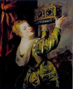 Jonge vrouw met een met juwelen bezette kist