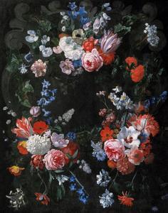 Cartouche versierd met bloemfestoenen