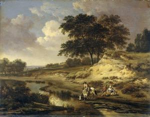 Landschap met een ruiter, die zijn paard drenkt