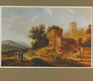 Zuidelijk landschap met ruïne; Cincinnatus wordt tegen zijn wil tot dictaor geroepen (Livius III:26)