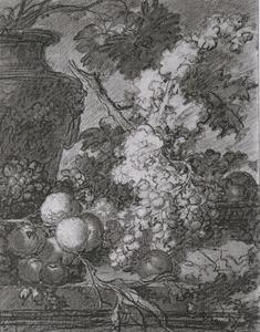 Stilleven van bloemen en vruchten op een stenen plint