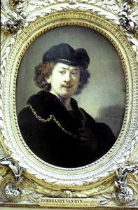 Zelfportret met baret en gouden ketting
